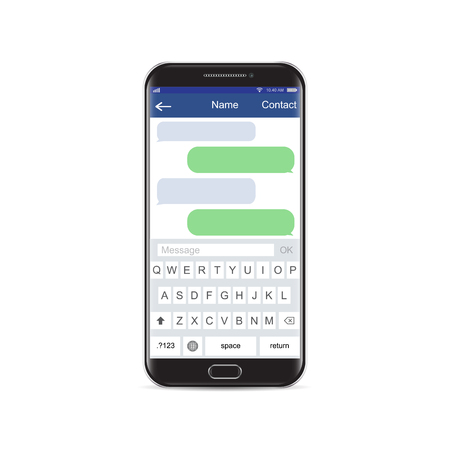 Smartphone black chatting sms app template bubbles, black and white theme. Place your own text to the message clouds. Compose dialogues using samples bubbles Eps 10 format