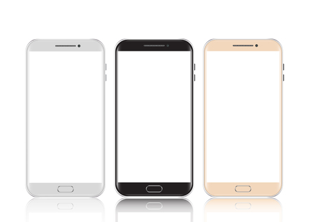 Black, white and gold smartphone isolated vector illustration.