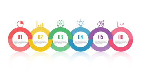 Template timeline infographic colored horizontal numbered for six position can be used for workflow, banner, diagram, web design, area chart.