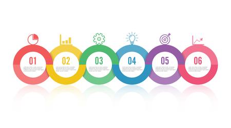 La línea de tiempo de la plantilla infografía coloreada horizontalmente numerada para seis posiciones se puede usar para flujo de trabajo, pancarta, diagrama, diseño web, gráfico de área.