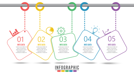 Timeline infographics design template with 5 options, process diagram