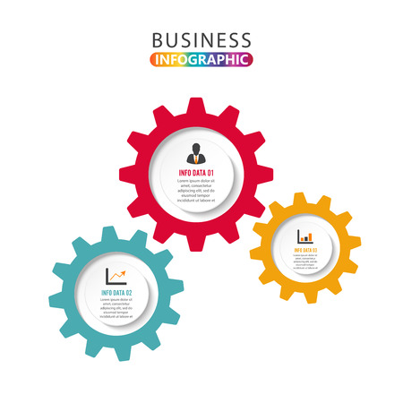 Abstract element of chart, graph, diagram with 3 steps, options, parts, processes in the form of gears. Vector business template for presentation and training.