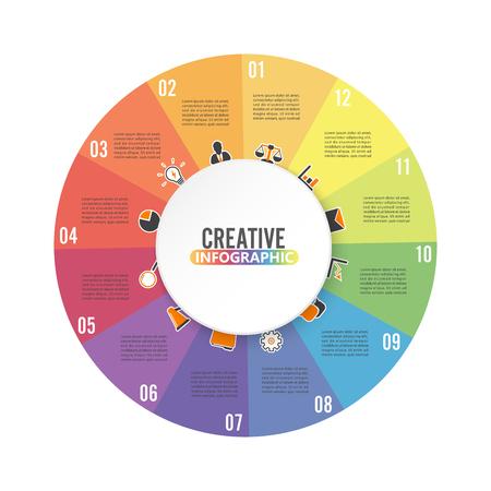 Plantilla de infografía de círculo con 12 opciones para presentaciones, publicidad, diseños, informes anuales. Ilustración de vector