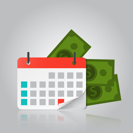 Concept of Payment date or Payday loan like a calendar with money