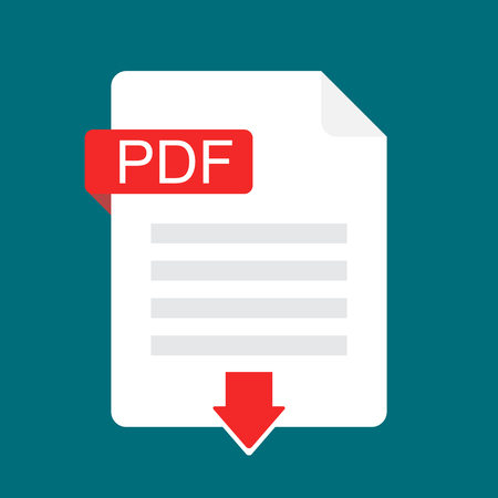 Download PDF icon. File with PDF label and down arrow sign. Downloading document concept. Flat design vector icon