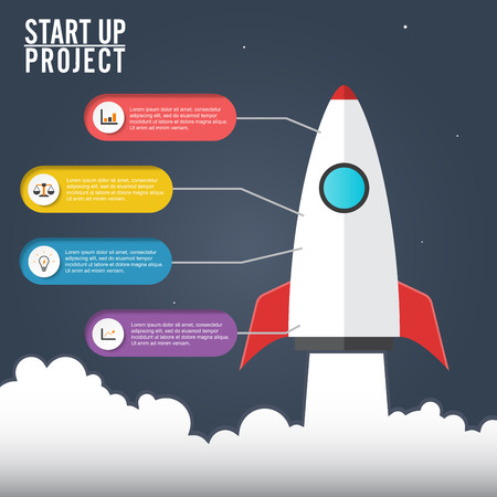 Flat illustration concept of business project startup infographic with idea rocket. Template for cycle diagram, graph, presentation and round chart. Data, options, part, steps or processes Ilustracja