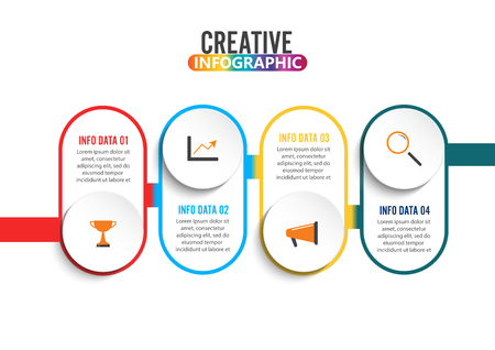 Four steps infographics - can illustrate a strategy, workflow or team work. Illusztráció