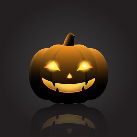 Halloween pumpkin with happy face on dark background. Vector Illustration.  イラスト・ベクター素材