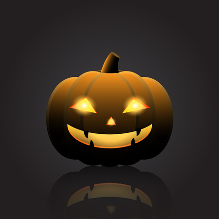Halloween pumpkin with happy face on dark background. Vector Illustration. 矢量图像