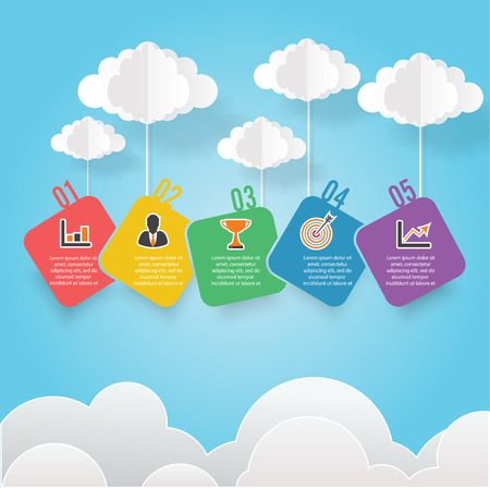 Infographic Business Concept of Timeline with colored clouds for presentation - vector design banner.