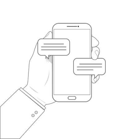 Outline drawing mobile phone chat message notifications vector illustration isolated on white background.
