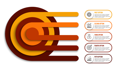 Landscaped circle infographic design vector and marketing icons can be used for workflow layout, diagram, annual report, web design. Business concept with 5 options, steps or processes