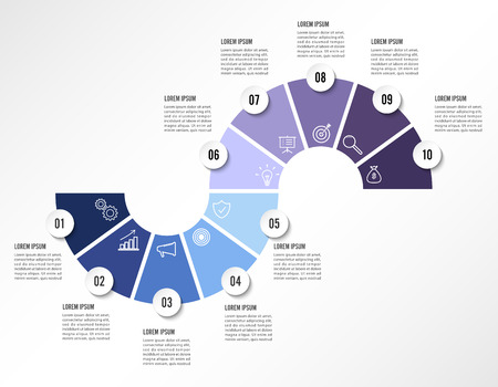 Ten steps infographics design vector and marketing icons in cool colors can be used for workflow layout, diagram, annual report, web design. Çizim