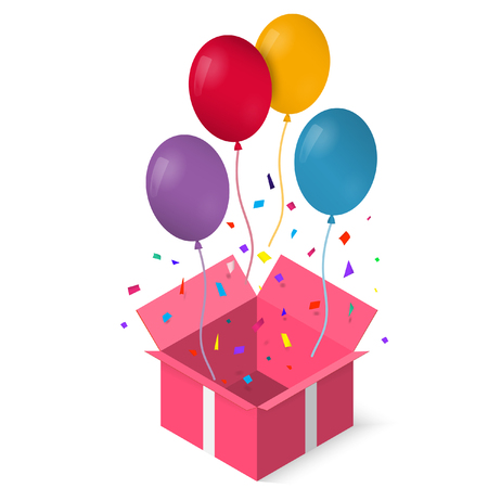 Open gift box with as balloon vector illustration. EPS 10.