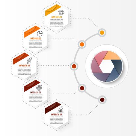 Modello di infographic di vettore con etichetta di carta 3D, cerchi integrati. Concetto di business con opzioni. Per contenuto, diagramma, diagramma di flusso, passaggi, parti, infografica della sequenza temporale, layout del flusso di lavoro, grafico