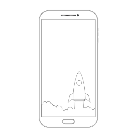 Outline drawing smartphone. phone screen and rocket illustration design over a white background Ilustração