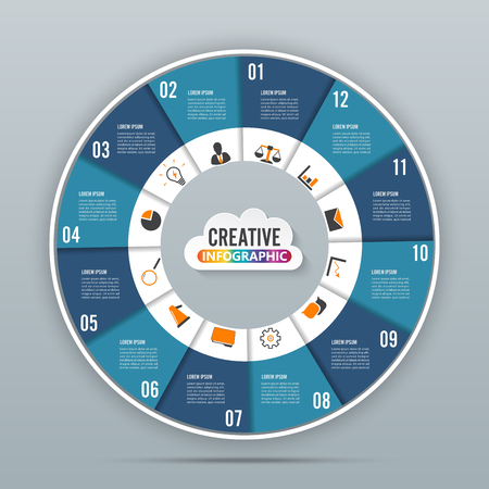 Circle chart infographic template vector illustration