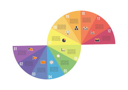 Circle chart infographic template with 12 options for presentations, advertising, layouts, annual reports Vector illustration. 일러스트