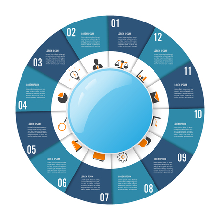 Circle chart infographic template with 12 options for presentations, advertising, layouts, annual reports Vector illustration. Illustration