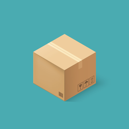 Closed cardboard box taped up and isolated on a white background. Vector illustration.