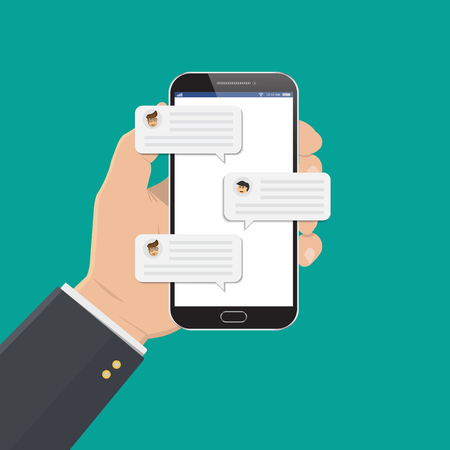 Mobile phone chat message notifications vector illustration isolated on color background.