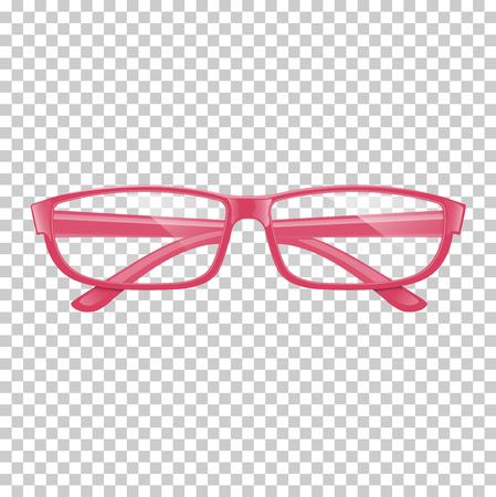 Realistic pink glasses on transparent background. Illustration