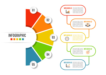 Opción, proceso o paso de plantilla de infografía de círculo cinco para presentación comercial