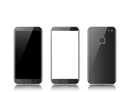 Modern black touchscreen cellphone tablet smartphone isolated on light background. Phone front and back side isolated vector illustration.
