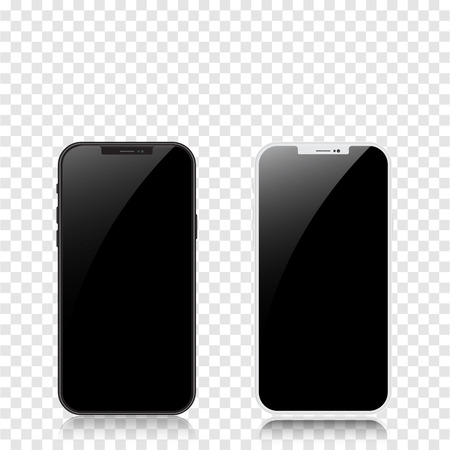 New version of black and white slim smartphone similar to with blank white screen on transparent background. Realistic vector illustration.