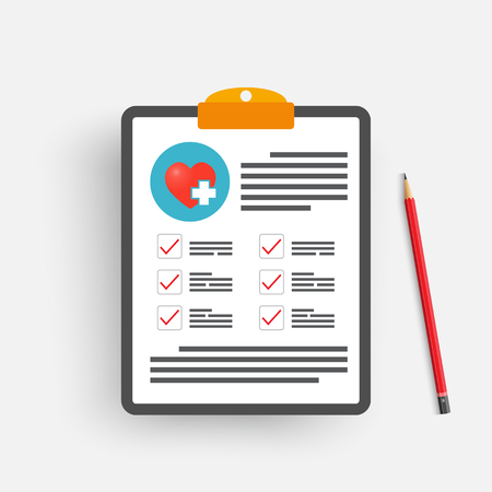Clipboard with medical cross and pencil. Clinical record, prescription, claim, medical check marks report, health insurance concepts. Premium quality. Modern flat design graphic elements. Vector illustration.