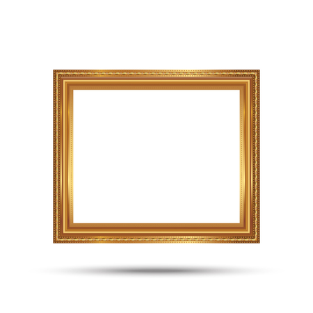 Gold photo frame with corner line floral picture frame isolated on white background. Illustration