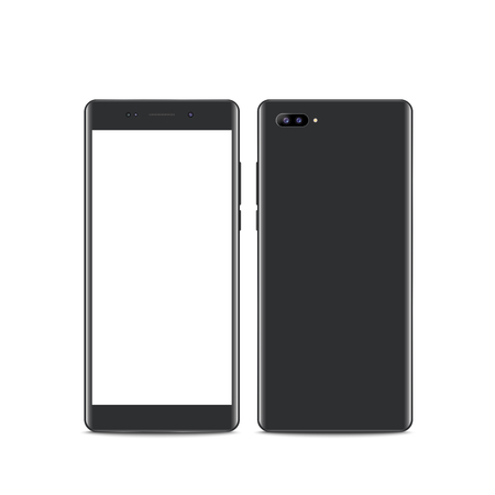 Realistic dark grey smartphone. Front and Back View. Smartphone with edge side style, 3d Vector illustration of cell phone.