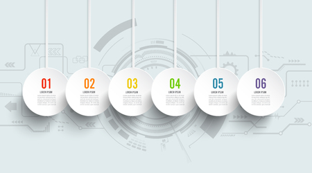 Template Timeline Infographic technology horizontal numbered for six position can be used for workflow, banner, diagram, web design, area chart Stock Illustratie