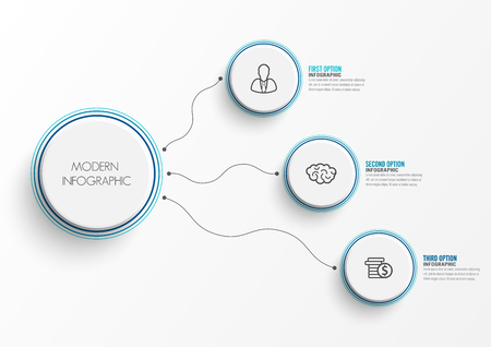 Abstract elements of graph infographic template with label, integrated circles. Business concept with 3 options. For content, diagram, flowchart, steps, parts, timeline infographics, workflow layout, Stock Illustratie