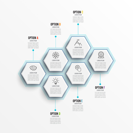 Vector illustration infographics 6 options. Template for brochure, business, web design