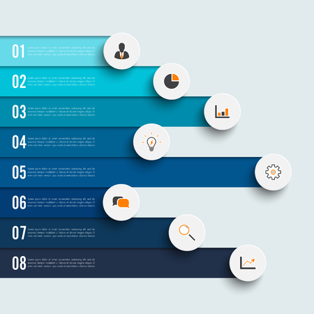 Infographic design vector and marketing icons can be used for workflow layout, diagram, annual report, web design. Business concept with 8 options, steps or processes. Stock Illustratie