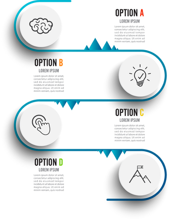 Vector infographic template with 3D paper label, integrated circles. Business concept with 4 options. For content, diagram, flowchart, steps, parts, timeline infographics.