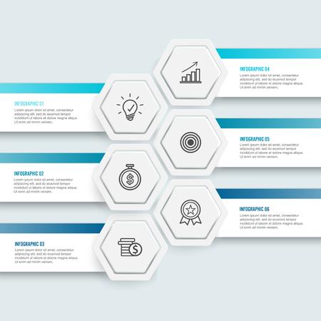 Vector illustration hexagon infographics 6 options. Template for brochure, business, web design.