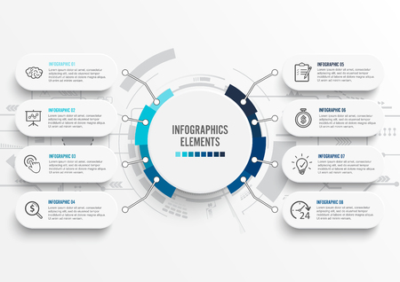 Vector infographic template with 3D paper label, integrated circles. Business concept with 8 options. For content, diagram, flowchart, steps, parts, timeline infographics, workflow, chart. Vectores