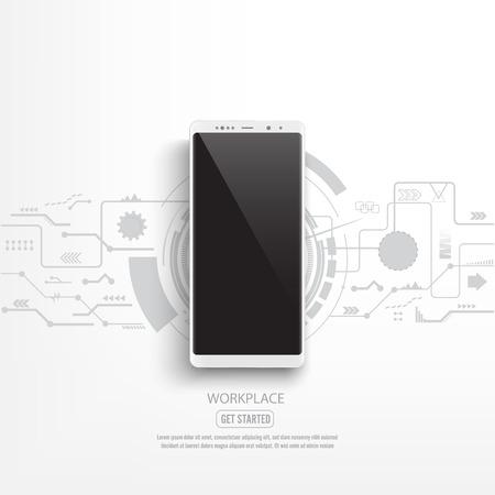 Maqueta de smartphone negro con fondo de circuito. vector ilustrador