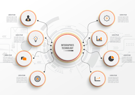 Vector infographic technology with 3D paper label, integrated circles. Business concept with 8 options. For content, diagram, flowchart, steps, parts, timeline infographics, workflow, chart.