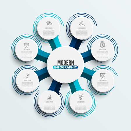 Vector infographic template with 3D paper label, integrated circles. Business concept with 8 options. For content, diagram, flowchart, steps, parts, timeline infographics, workflow, chart. Stock Illustratie