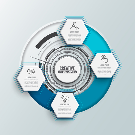Circle infographic template four option, process or step for business presentation. illustrator vector.