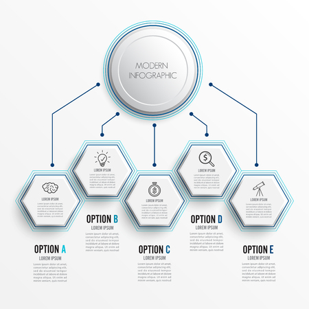 Abstract digital five options. Vector illustration can be used for workflow layout infographic, diagram, number, web design. Stock Illustratie