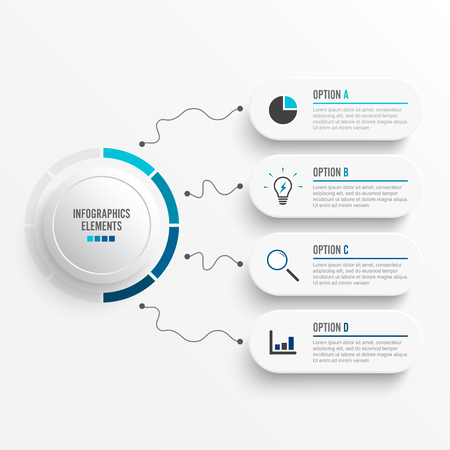 Abstract elements of graph Vector infographic template with label, integrated circles. Business concept with 4 options. For content, diagram, flowchart, steps, parts, timeline infographics, workflow layout, chart. Stock Illustratie