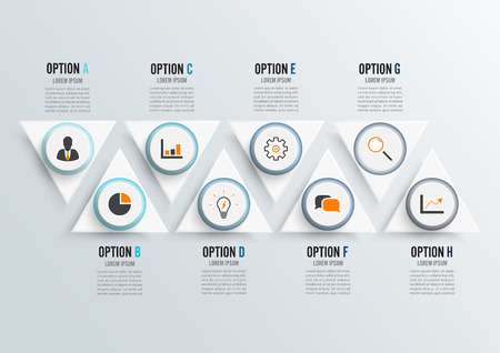 Vector infographic template with 3D paper label, integrated circles. Business concept with 8 options. For content, diagram, flowchart, steps, parts, timeline infographics. Stock Illustratie