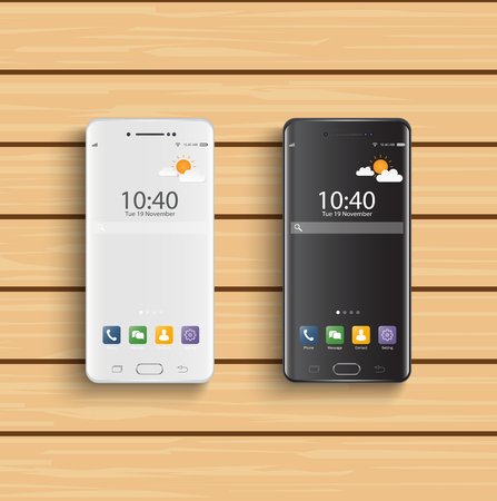 Smartphones black and white. New realistic mobile smartphone modern style. Vector smartphone with ui icons on wooden background.