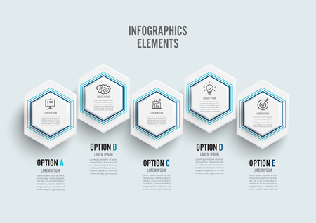 Vector infographic template with 3D paper label, integrated circles. Business concept with 5 options. For content, diagram, flowchart, steps, parts, timeline infographics.