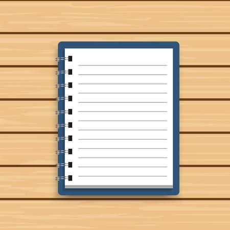 Blank realistic spiral notepad notebook on wooden background. Vector illustrator Stock Illustratie