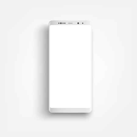 Modern realistic white smartphone. Smartphone with edge side style, 3d Vector illustration of cell phone.